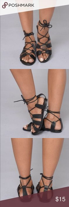Flat Tie Around Black Sandals Flat Tie Around Black Sandals!  Never worn. Shoes Sandals