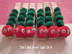 Make these clothespin pompom caterpillars for guests to wear @ A Very Hungry Caterpillar party