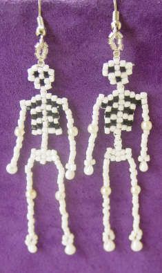Beaded Halloween Skeleton earrings.