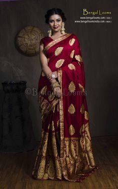 Paat Silk Assamese Mekhela Chador in Maroon and Gold Saris, Indian Bridal Outfits, Indian Bridal Fashion, Dress Indian Style, Indian Dresses, Indian Wear, Bridal Silk Saree, Gold Silk Saree, Saree Wedding
