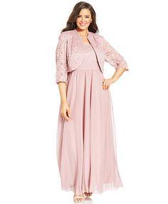 R&M Richards Plus Size Lace Empire-Waist Gown and Jacket