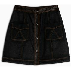 Max&Co. Denim-effect sweater skirt ($130) ❤ liked on Polyvore featuring skirts, black pattern, high waist skirt, leather a line skirt, stretch skirts, leather flare skirt and knee length leather skirt