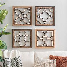 Geometric Wood Cutout Wall Plaques, Set of 4 : Wood Metal Wall Decor, Diy Wall Decor, Wall Decorations, Stair Wall Decor, Wood Cutouts, Wall Art Sets, Wall Plaques, Metal Walls, Country Decor