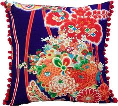 vintage kimono pillow with navy and orange