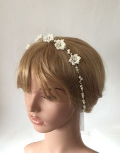 Bridal Crochet Hair Wrap Beaded Headband Wedding Boho by ReddApple