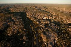 Aerial view showing sandstone symmetry in the landscape around Cobbold Gorge