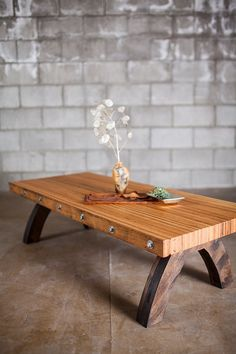 bolted oak slab reclaimed coffee table by PecanWorkshop