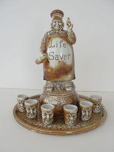 Rare Schafer Vater 8 Piece Live Saver Music Box Decanter Tray Shot Glass Set