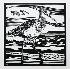 Items similar to A limited edition linocut print titled 'Curlew' showing the shorebird on the coast wading for food on Etsy Nature Prints, Bird Prints, David Hockney Art, Encaustic Painting, Chalk Pastels, Wood Engraving, Linocut Prints, Woodblock Print, Bird Art