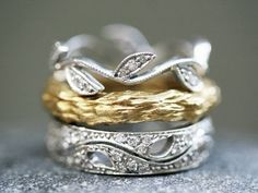 cathy waterman- love of my life collection.   platinum leaf rings. I love these :)