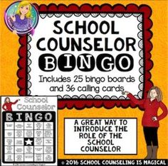 Looking for a fun way to introduce and/or review the role of the school counselor at the beginning of the school year? Well, School Counselor BINGO is the way to go.  Included in this product: *25 unique bingo cards*36 unique calling cardsCard front templ