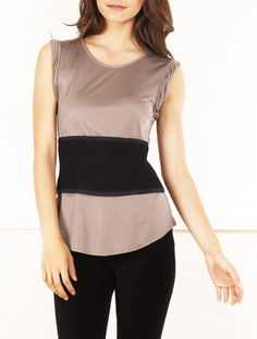 Sew a block of complimentary color material. Alexander Wang gray tank with black mesh detail