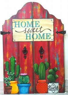Tole Painting, Painting On Wood, Cactus Painting, Kaktus Illustration, Cactus Art, Cactus Plants, Cactus Drawing, Cacti Garden, Cactus Flower