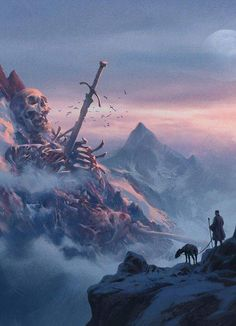 The wanderer was awed to find the bones of a god pinned to the mountain side.