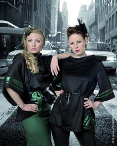 Simone Weghorn  - Modedesign: Jagdcouture; Poncho, schwarz, grün, Trachtenstil, Satin, Bänder