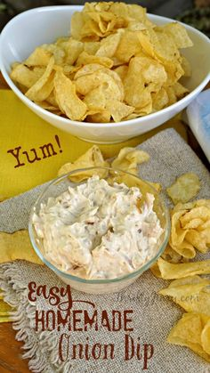 This Easy Homemade Onion Dip Recipe is my go-to when it comes to parties. And really IS easy to make! Low-fat cream cheese and fat-free Greek yogurt serve as the base. I can't even look at the picture without getting hungry! AD ChipLove