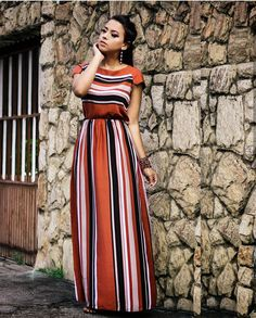 Long dress / instagram: @maanuhscota Casual Formal Dresses, Modest Dresses, Modest Outfits, Pretty Dresses, Jw Moda, Latest African Fashion Dresses, Striped Dress, Designer Dresses, The Dress