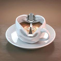 Home Brewed Cappuccino In 3 Easy Steps – Espresso Shots Ceramic Mugs, Ceramic Pottery, Ceramic Art, Coffee Cafe, Coffee Shop, Coffee Mugs, Objet Wtf, Keramik Design, Cup Art