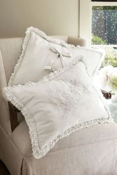 Ruffle Embroidered Bed Sham - Ruffled Bed Sham, Embroidered Bed Sham | Soft Surroundings