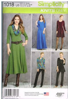 Simplicity Patterns - Simplicity Miss/Petite Knit Dresses, Tunics, Pant& Cowl - 6 - 8 - 10 Simplicity Sewing Patterns, Dress Sewing Patterns, Clothing Patterns, Skirt Patterns, Couture, Long Midi Dress, Petite Dresses, Sewing Clothes, Knit Dress