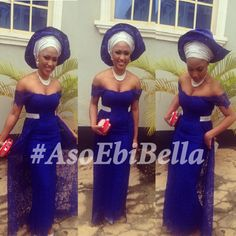 Nigerian wedding guest. Royal Blue Guipure lace off shoulder dress ...