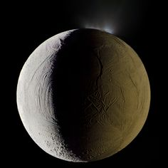 Enceladus, the sixth-largest moon of Saturn, seen shooting geysers water into space from its south polar region in this mosaic composite photograph. (Michael Benson)