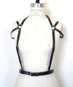 Raphaela Leather Harness Teal Body Cage by LoveLornLingerie