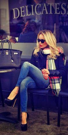 #street #style / plaid scarf