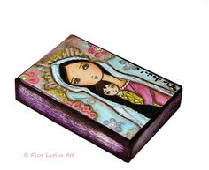 Madonna with Child and Flowers  ACEO Giclee print by FlorLarios, $10.00