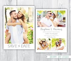 Save The Date Photoshop Template - 2 sided customizable photoshop ...