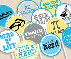 NERD Party Circles & Cupcake Toppers Instant by PrintasticDesign, $5.00