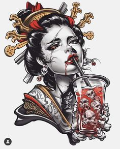 Geisha Tattoo Design, Tattoo Design Drawings, Tattoo Sketches, Japanese Tattoo Art, Japanese Tattoo Designs, Japanese Art, Neo Traditional Art, Traditional Tattoo, Traditional Japanese Tattoo Flash