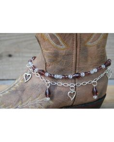 Love need some for my boots Boot Candy Boot Candy Amethyst Crystals and Hearts Boot Jewelry, Beaded Jewelry, Cowgirl Style, Cowgirl Boots, Boot Bracelet, Country Boots, Boot Bling, Valentines Jewelry, Amethyst Crystal
