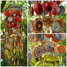 Fall Autumn Ombre Red Orange Yellow Custom Handmade Beer Bottle Cap Wind Chime