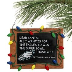 Philadelphia Eagles Chalkboard Sign Ornament #FlyEaglesFly #Eagles #ornaments