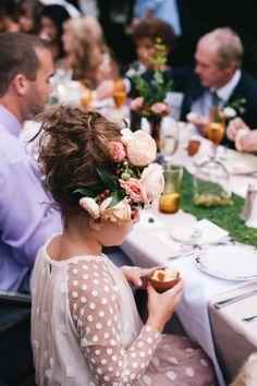 Adorable flower girl hair: http://www.stylemepretty.com/little-black-book-blog/2015/03/30/whimsical-fiore-farm-garden-party-wedding/ | Photography: Lydia Jane - http://www.lydiajane.com/
