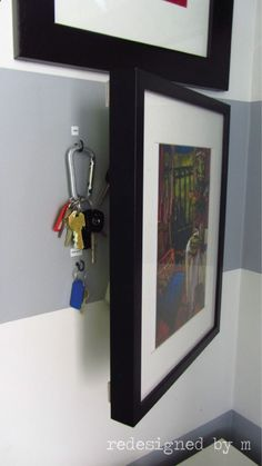 Hide keys, etc. I love the idea of every day items out of sight. And there is something so fun about them being hidden behind a picture!!