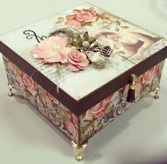 Discover thousands of images about J.M Box Decoupage Vintage, Decoupage Paper, Cigar Box Crafts, Altered Cigar Boxes, Diy Recycling, Diy And Crafts, Paper Crafts, Shabby Chic Crafts, Pretty Box