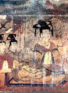 Goguryeo Tomb Mural - Portrait of the Tomb Owner's Wife.   Anak Tomb #3, 357 A.D.  North Korea, Hwanghae Province