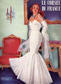 The cover of Le Corset de France, October/November 1950, featuring a glamorous dress by designer Jacques Fath. #vintage #1950s #fashion