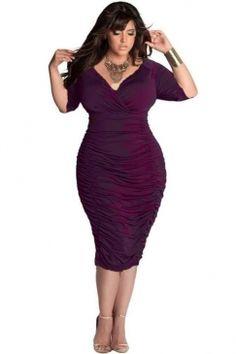a93db7ec00057 Cheap Plus Size Wrap V-Neck Ruched Midi Dress Purple