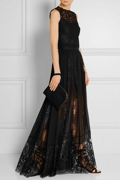 Black silk-chiffon and lace Hook and zip fastening at back 47% silk, 43% rayon, 10% polyamide; lining: 75% polyamide, 25% silk Dry clean Imported