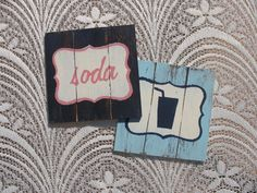 """To order: info@primabella.net... Distressed Wooden Coasters. Set of 4 """"coffee"""", """"coffee mug"""", """"tea"""", """"tea cup"""", """"soda"""", """"soda glass"""", """"milk"""", """"milk bottle"""", """"bird"""" & """"heart""""designs (available in English & Afrikaans) R75 Available in various pastel colors. Home Decor Gifts - Home Decor Ideas - Gift Ideas - DIY ideas"""