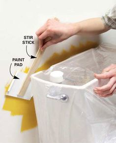 Painting Tips: Paint tight spots by gluing a paint pad to a paint stir stick