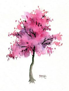 Uploaded by Pizzaland. Find images and videos about beautiful, pink and art on We Heart It - the app to get lost in what you love. Watercolor Trees, Watercolor Landscape, Abstract Watercolor, Watercolor Illustration, Watercolour Painting, Watercolours, Watercolor Paintings For Beginners, Chalk Art, Tree Art