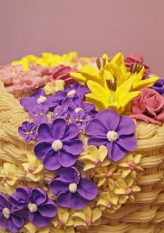 Royal Flower Basket Weave Cake