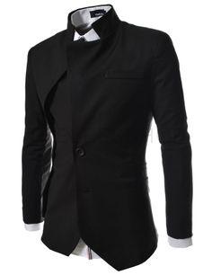 (NJK-BLACK) Mens unbalance 2 button china collar jacket BLACK