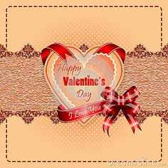 """Vintage Happy Valentine's Day background with """"Happy Valentine's Day"""" text and """"I Love you"""" on ribbon, vintage linen/jute with ornamental design as backdrop."""