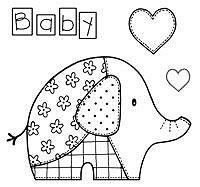 Woodware Clear Singles Baby Patch Elephant 4 in x 4 in Stamp Creative Expressions Love Stamps, Clear Stamps, Image 3d, Quilting, Craftwork Cards, Patch Aplique, Doodle Patterns, Hand Embroidery Patterns, Applique Patterns