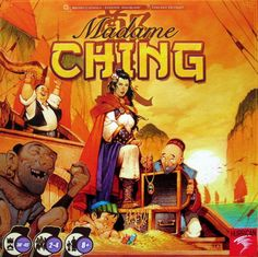 Madame Ching is a hand-management game in which 2-4 players try to put together voyages that take their ships far across the waters, possibly all the way to Hong Kong. Each player starts the game with four cards in hand, each card having a number from 1 to 50-something; the cards have a colored bar across the top, often with a symbol in them. In the first round, each player lays down a card, drafts one of the available cards, then moves one of her ships to the right on the ocean. Players…